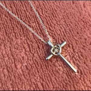 Jewelry - Cross Pendant Diamond Heart Necklace 10k Wh Gold